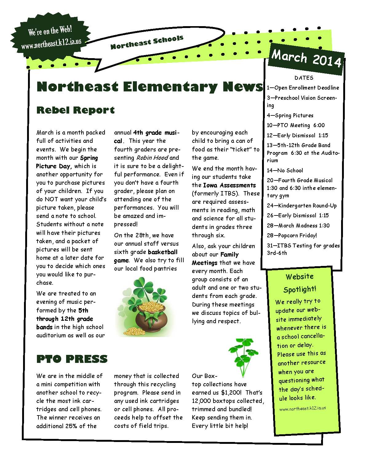 Elementary school newsletter templates for Primary school newsletter templates
